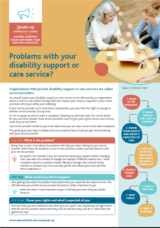 problems with your disability support or care service