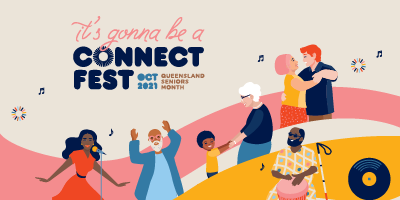 Seniors Week Connect Fest Graphic featuring illustrated images of seniors dancing including one dancing with a child
